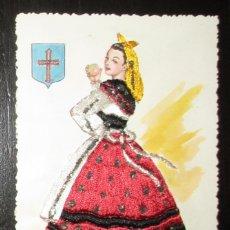 Postales: ANTIGUA POSTAL BORDADA DE ASTURIANA CON TRAJE TÍPICO. POSTALES ESPERÓN.. Lote 181877572