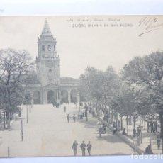 Postales: GIJON , IGLESIA DE SAN PEDRO. Lote 182075753