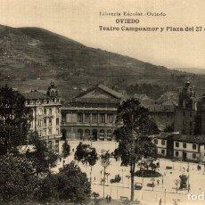 Postales: OVIEDO. TEATRO CAMPOAMOR Y PLAZA DEL 27 DE MAYO. Lote 182496916