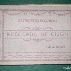 Postales: RECUERDO DE GIJÓN. TARJETAS POSTALES. ED. A. RIVERO. Lote 183488998