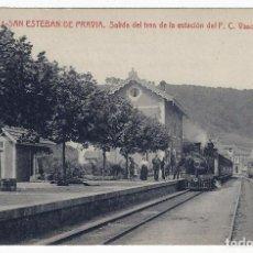 Postales: POSTAL SAN ESTEBAN DE PRAVIA SALIDA DEL TREN DE LA ESTACION FERROCARRIL FC VASCO ASTURIANO , P884. Lote 183813911