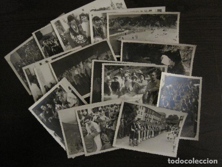 NUEVA LLANES-ASTURIAS-CONJUNTO DE 16 FOTOGRAFIAS ANTIGUAS-FIESTAS...-FOTO DE DIEGO-VER FOTOS(V-18307 (Postales - España - Asturias Antigua (hasta 1.939))