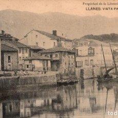 Postales: LLANES. VISTA PARCIAL DEL RIBERO. LIBRERÍA GENERAL. Lote 185994295
