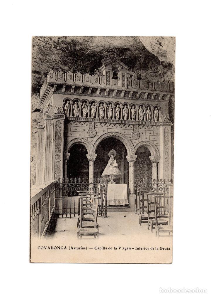 COVADONGA.(ASTURIAS).- CAPILLA DE LA VIRGEN. INTERIOR DE LA GRUTA. (Postales - España - Asturias Antigua (hasta 1.939))