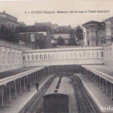 Postales: OVIEDO (ASTURIAS) - ESTACION DE FERROCARRILO VASCO ASTTURIANO. Lote 186403328