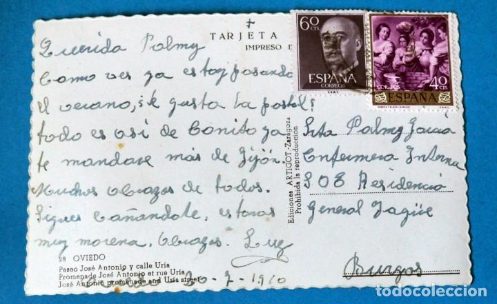 Postales: POSTAL DE OVIEDO: PASEO JÓSE ANTONIO Y CALLE URÍA - Foto 2 - 189624821