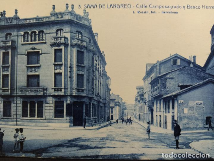 Postales: SAMA DE LANGREO-ASTURIAS-CALLE CAMPOSAGRADO Y BANCO HERRERO-3-ROISIN-POSTAL ANTIGUA-(65.789) - Foto 2 - 189897680