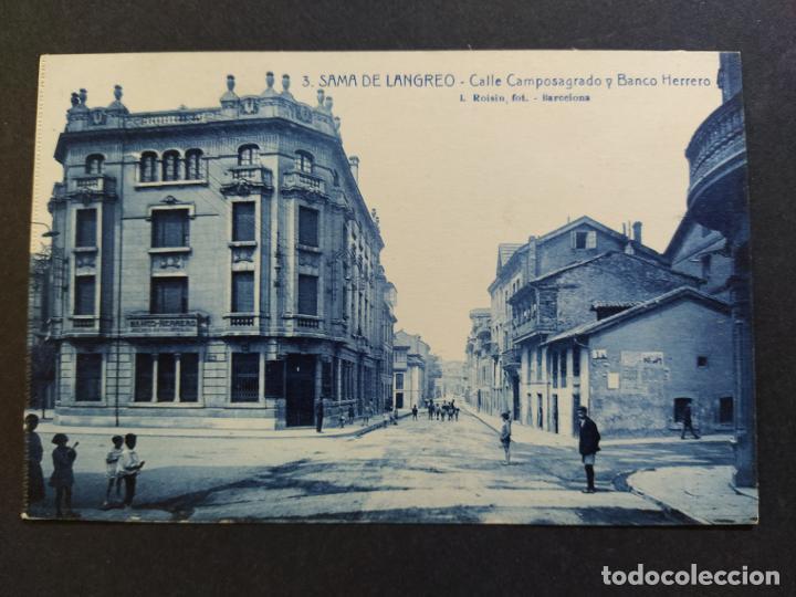 SAMA DE LANGREO-ASTURIAS-CALLE CAMPOSAGRADO Y BANCO HERRERO-3-ROISIN-POSTAL ANTIGUA-(65.789) (Postales - España - Asturias Antigua (hasta 1.939))