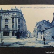 Postales: SAMA DE LANGREO-ASTURIAS-CALLE CAMPOSAGRADO Y BANCO HERRERO-3-ROISIN-POSTAL ANTIGUA-(65.789). Lote 189897680
