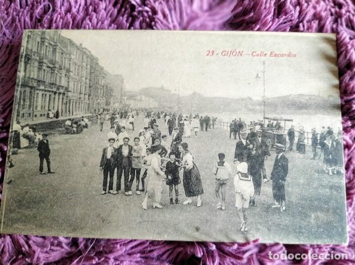 GIJON.CALLE EZCURDIA (Postales - España - Asturias Antigua (hasta 1.939))