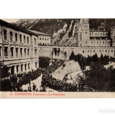 Postales: COVADONGA.(ASTURIAS).- ESPERANDO A SU MAJESTADES.. Lote 191008571