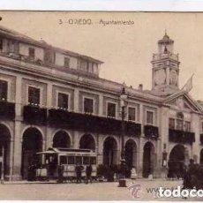 Postales: OVIEDO. Nº 3. AYUNTAMIENTO. VISTA DE UN TRANVIA DE OVIEDO. CIRCULADA. CASTAÑEIRA.. Lote 191064085