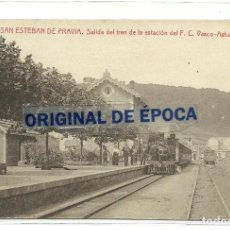 Postales: (PS-62450)POSTAL DE SAN ESTEBAN DE PRAVIA-SALIDA DEL TREN DE LA ESTACION DEL F.C.VASCO-ASTURIANO. Lote 191083290