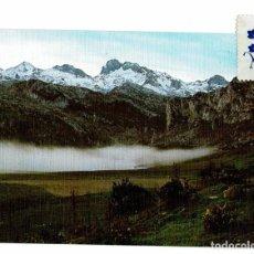 Postales: POSTAL COVADONGA PARQUE NACIONAL / PICOS DE EUROPA / LAGO ERCINA / MAZIZO PEÑA SANTA / ESCRITA SELLO. Lote 191246852