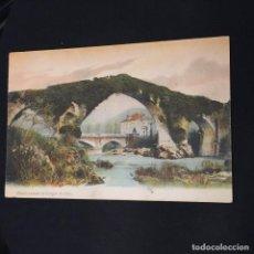 Postales: POSTAL PUENTE ROMANO CANGAS DE ONIS COLOREADA NO ED NO FOT DESDE HOTEL PELAYO COVADONGA 1912. Lote 195030736