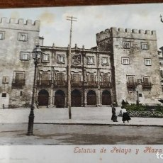 Postales: POSTAL GIJÓN. ESTATUA DE PELAYO Y PLAZA DEL MARQUÉS. COLOREADA.. Lote 195133891