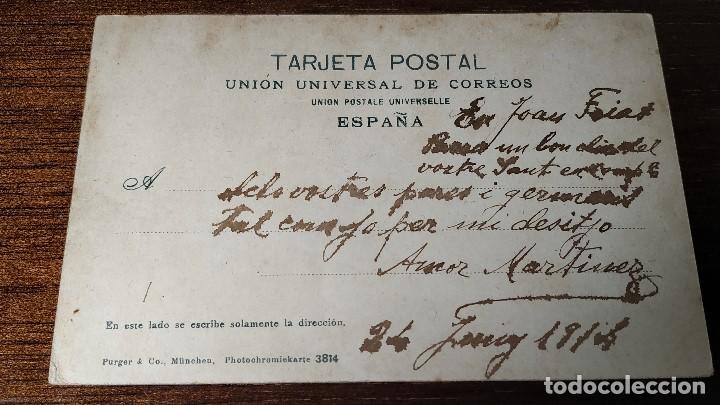 Postales: Postal Gijón. Estatua de Pelayo y plaza del Marqués. Coloreada. - Foto 2 - 195133891