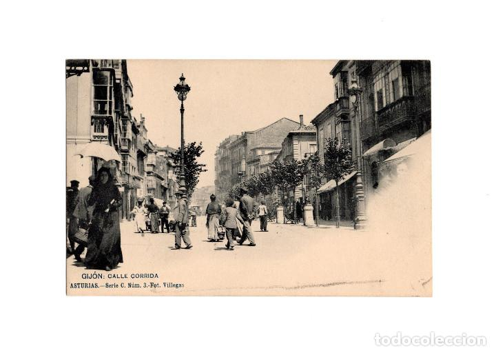 GIJÓN.(ASTURIAS).- CALLE CORRIDA. SERIE C. Nº3. FOT VILLEGAS. (Postales - España - Asturias Antigua (hasta 1.939))