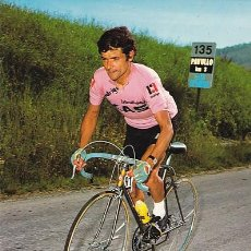 Postales: CICLISMO JOSE MANUEL FUENTE CON LA MAGLIA ROSA GIRO DE ITALIA DEL AÑO 1971. Lote 198357173