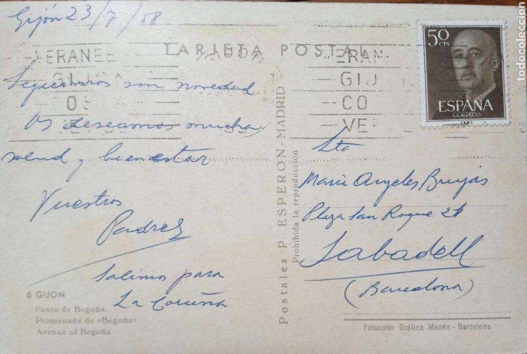 Postales: P-11281. POSTAL GIJON. MEDIADOS S.XX. - Foto 2 - 198890765