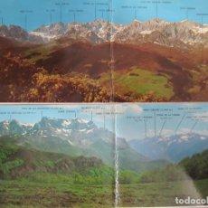 Postales: LOTE 2 POSTALES PANORAMICAS PICOS DE EUROPA ASTURIAS MACIZO ORIENTAL CENTRAL Y OCCIDENTAL. Lote 199089062