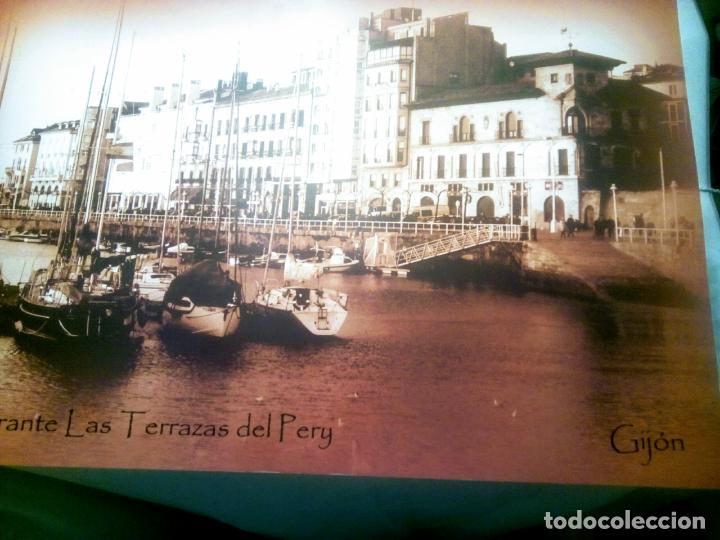 Postales: Dos Vistas de Gijón. El puerto antiguo y playa San Lorenzo. 49 cm por 23 cm. Una verde otra sepia. - Foto 2 - 205611052