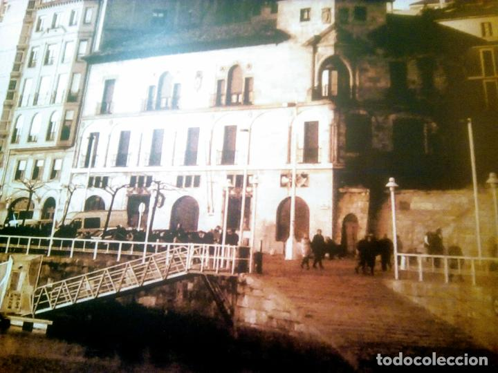 Postales: Dos Vistas de Gijón. El puerto antiguo y playa San Lorenzo. 49 cm por 23 cm. Una verde otra sepia. - Foto 3 - 205611052