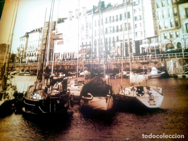 Postales: Dos Vistas de Gijón. El puerto antiguo y playa San Lorenzo. 49 cm por 23 cm. Una verde otra sepia. - Foto 4 - 205611052