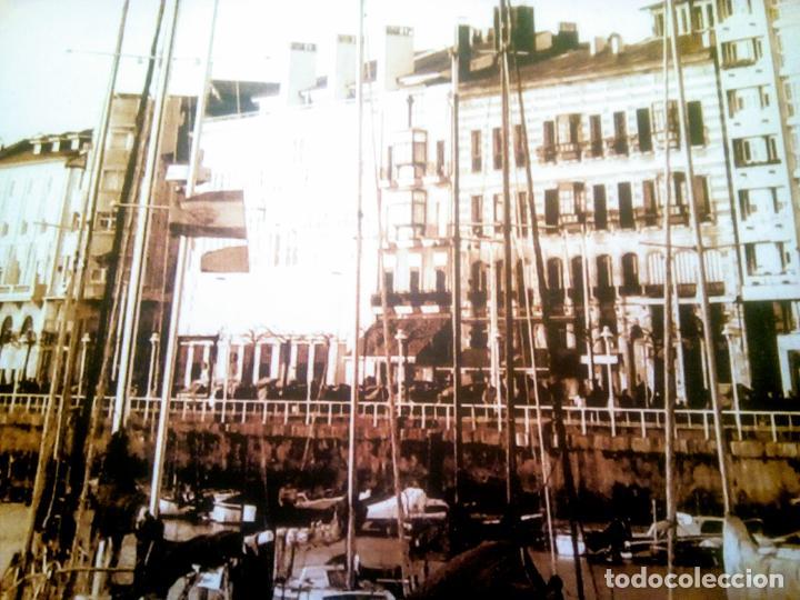 Postales: Dos Vistas de Gijón. El puerto antiguo y playa San Lorenzo. 49 cm por 23 cm. Una verde otra sepia. - Foto 6 - 205611052