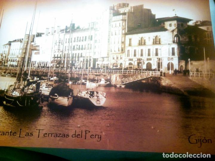 Postales: Dos Vistas de Gijón. El puerto antiguo y playa San Lorenzo. 49 cm por 23 cm. Una verde otra sepia. - Foto 7 - 205611052
