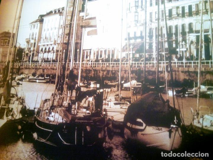 Postales: Dos Vistas de Gijón. El puerto antiguo y playa San Lorenzo. 49 cm por 23 cm. Una verde otra sepia. - Foto 8 - 205611052