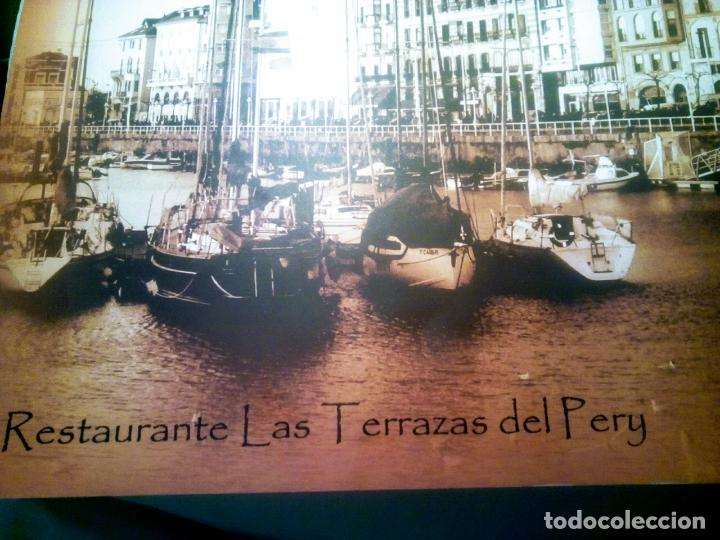 Postales: Dos Vistas de Gijón. El puerto antiguo y playa San Lorenzo. 49 cm por 23 cm. Una verde otra sepia. - Foto 9 - 205611052