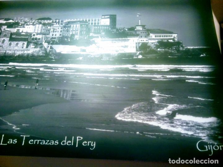 Postales: Dos Vistas de Gijón. El puerto antiguo y playa San Lorenzo. 49 cm por 23 cm. Una verde otra sepia. - Foto 10 - 205611052