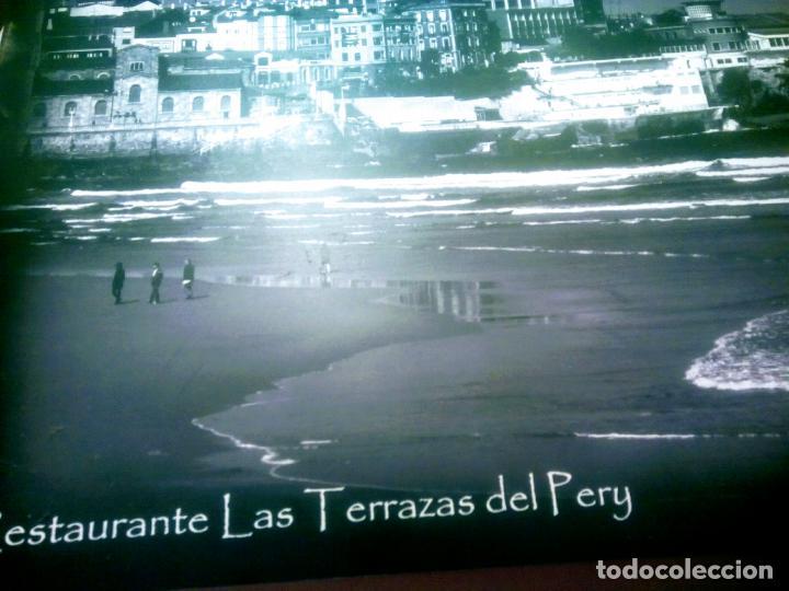 Postales: Dos Vistas de Gijón. El puerto antiguo y playa San Lorenzo. 49 cm por 23 cm. Una verde otra sepia. - Foto 12 - 205611052