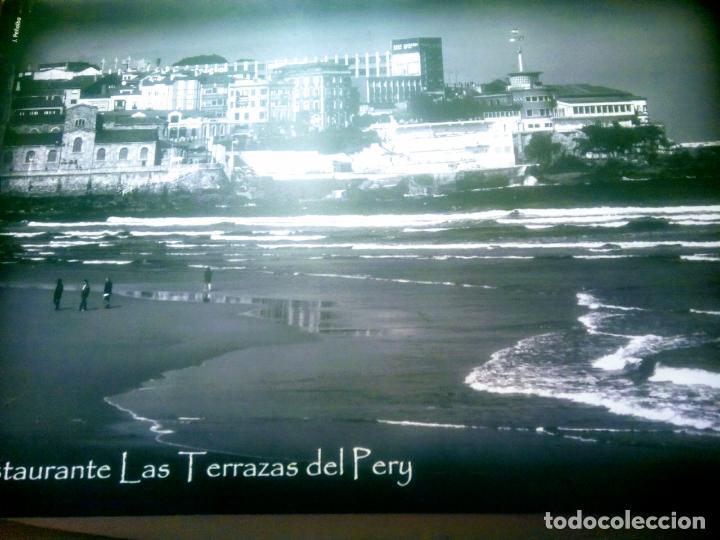 Postales: Dos Vistas de Gijón. El puerto antiguo y playa San Lorenzo. 49 cm por 23 cm. Una verde otra sepia. - Foto 13 - 205611052