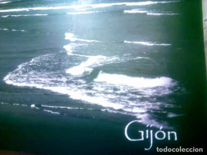 Postales: Dos Vistas de Gijón. El puerto antiguo y playa San Lorenzo. 49 cm por 23 cm. Una verde otra sepia. - Foto 14 - 205611052
