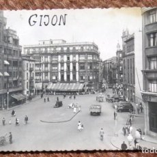 Postales: GIJON - PLAZA JOSE ANTONIO PRIMO DE RIVERA. Lote 206320547