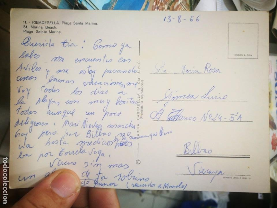 Postales: Postal Ribadesella Playa Santa Marina N 11 GARCÍA GARRABELLA 1966 escrita - Foto 2 - 210477273