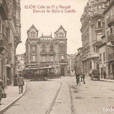 Postales: GIJÓN- CALLE DE PI Y MARGALL BANCOS THOMAS SIN CIRC.. Lote 211670603
