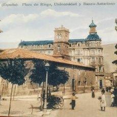Postales: POSTAL COLOREADA ,OVIEDO. PLAZA DE RIEGO UNIVERSIDAD Y BANCO ASTURIANO.. Lote 216729122