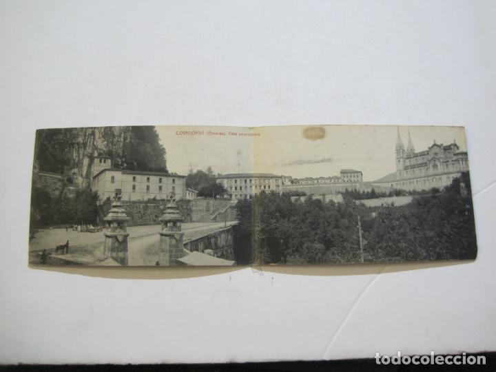 ASTURIAS-COVADONGA-VISTA PANORAMICA-DOBLE-THOMAS-POSTAL ANTIGUA-(74.543) (Postales - España - Asturias Antigua (hasta 1.939))
