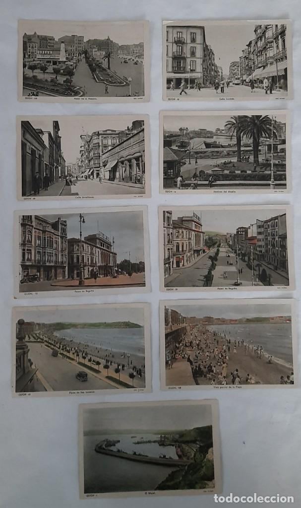 9 POSTALES DE GIJÓN (Postales - España - Asturias Moderna (desde 1.940))