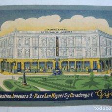 Postales: GIJON-ALMACENES CIUDAD DE LONDRES-POSTAL PUBLICIDAD ANTIGUA-VER FOTOS-(74.832). Lote 221821317