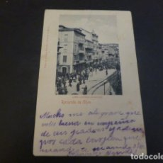 Postales: GIJON ASTURIAS CALLE CORRIDA BOULEVAR ED. BAZAR PALACIOS Y LIBRERIA DE MANSO REVERSO SIN DIVIDIR. Lote 224818273