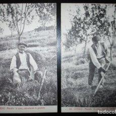 Postales: DOS POSTALES DE OVIEDO: MANOLÍN EL COXU CABRUÑANDO Y SEGANDO. SIN CIRCULAR.. Lote 234368935