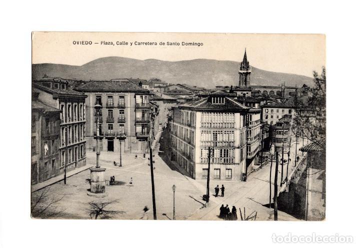 OVIEDO.(ASTURIAS).- PLAZA, CALLE Y CARRETERA DE SANTO DOMINGO. (Postales - España - Asturias Antigua (hasta 1.939))