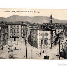Postales: OVIEDO.(ASTURIAS).- PLAZA, CALLE Y CARRETERA DE SANTO DOMINGO.. Lote 235792900