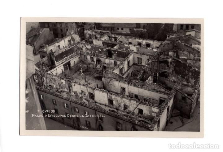 OVIEDO.(ASTURIAS).- PALACIO EPISCOPAL DESDE LA CATEDRAL. SUCESOS OCTUBRE DE 1934. POSTAL FOTOGRÁFICA (Postales - España - Asturias Antigua (hasta 1.939))