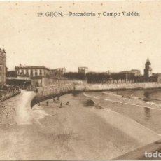 Postales: GIJON. - PESCADERÍA Y CAMPO VALDÉS. Nº19. SIN CIRCULAR.. Lote 241920180