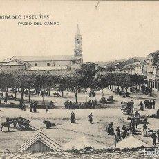Postales: POSTAL ANTIGUA DE RIBADEO, PASEO DEL CAMPO. ASTURIAS. Lote 244648560